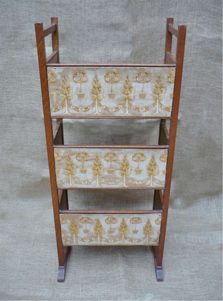Arts and crafts bookstand with embroidered panels