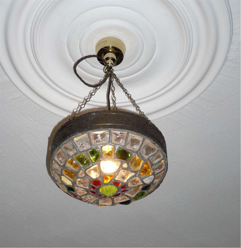 Arts and crafts hanging light glass and brass
