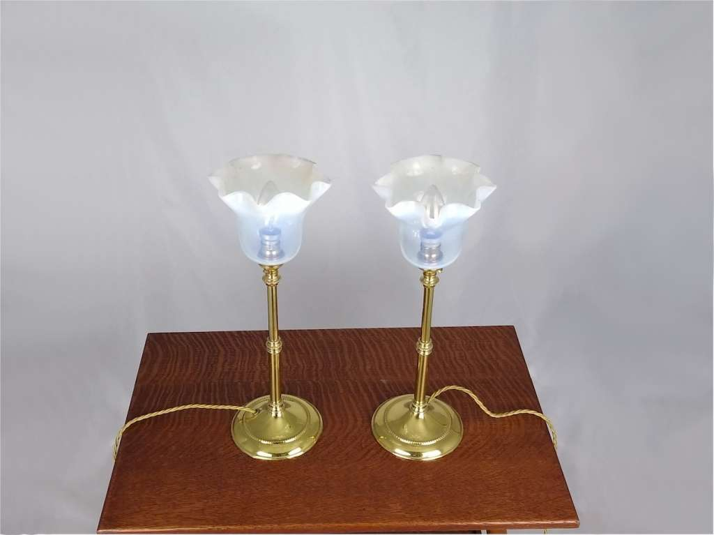 Pr Arts and crafts table lamps , vaseline shades