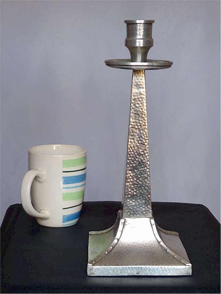 Arts and crafts candlestick in hammered pewter