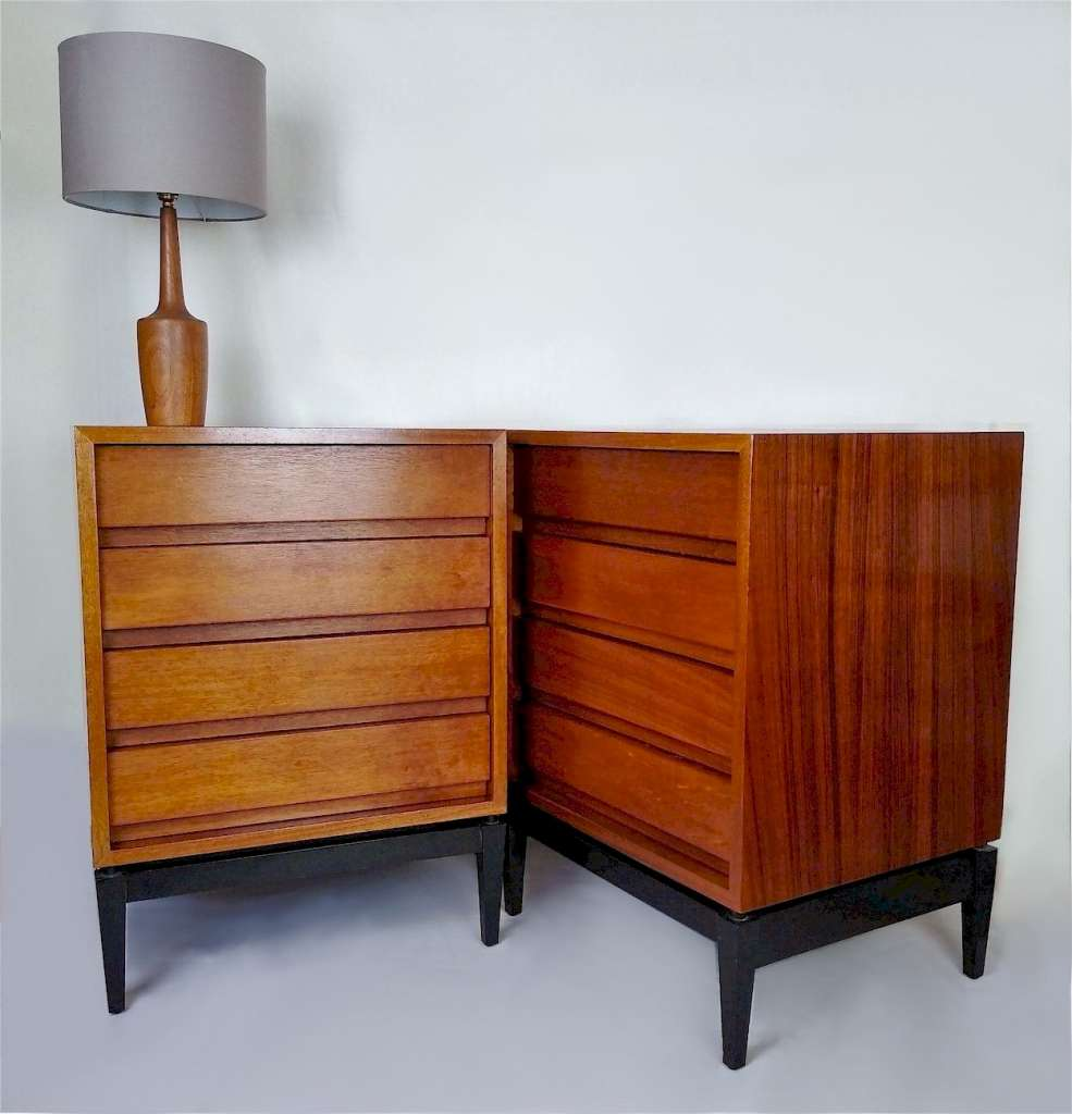 Matching pair of small mid century chests