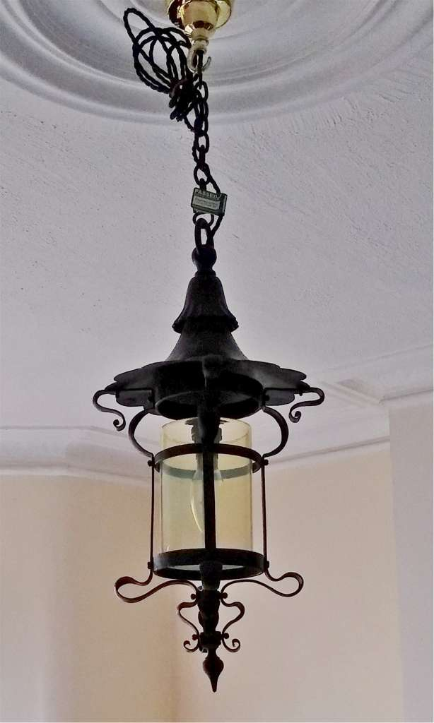 Arts and crafts ceiling light with vaseline shade