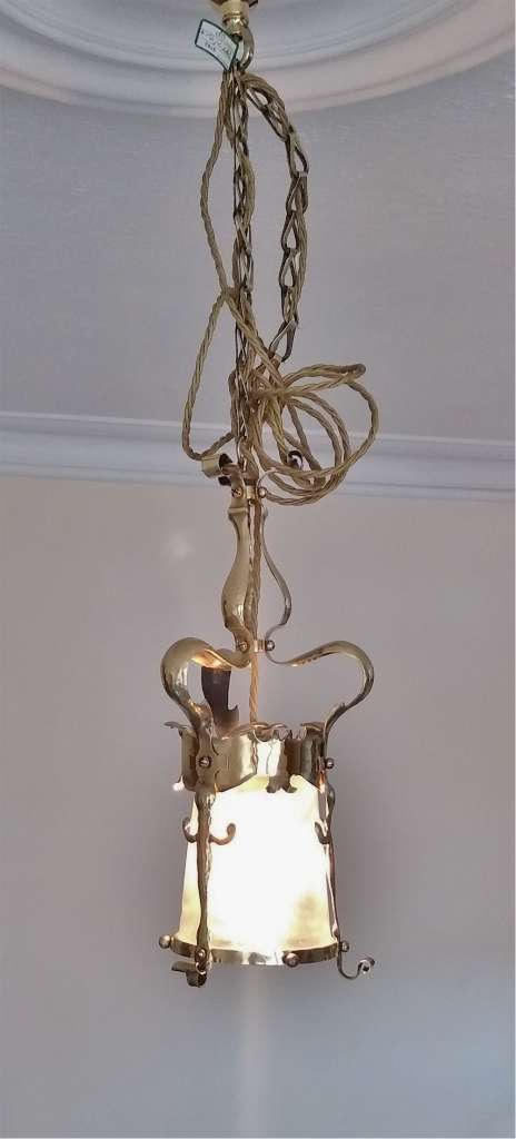 Arts and crafts ceiling light in hammered brass