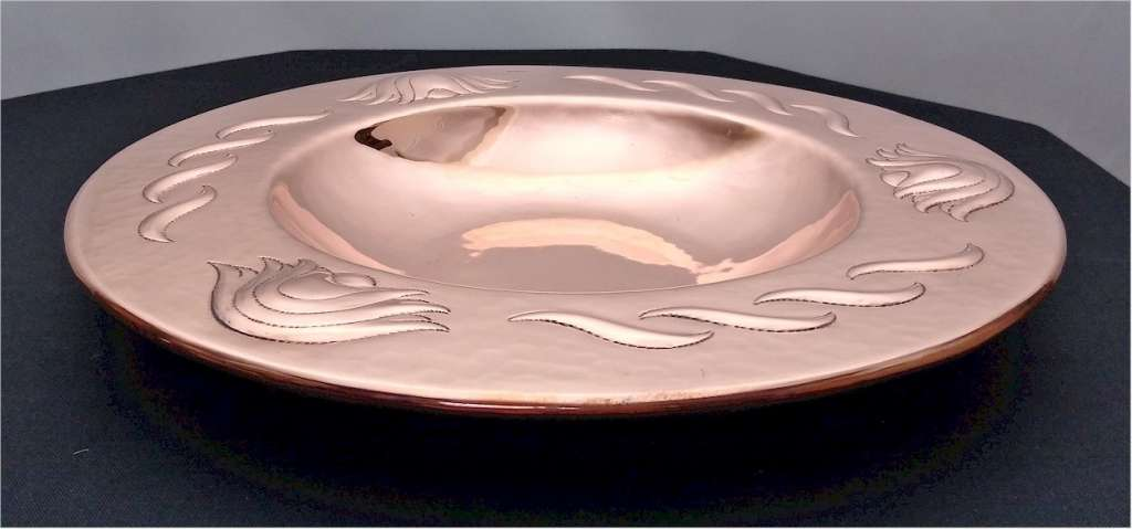 Newlyn fruit bowl in repoussee hammered copper