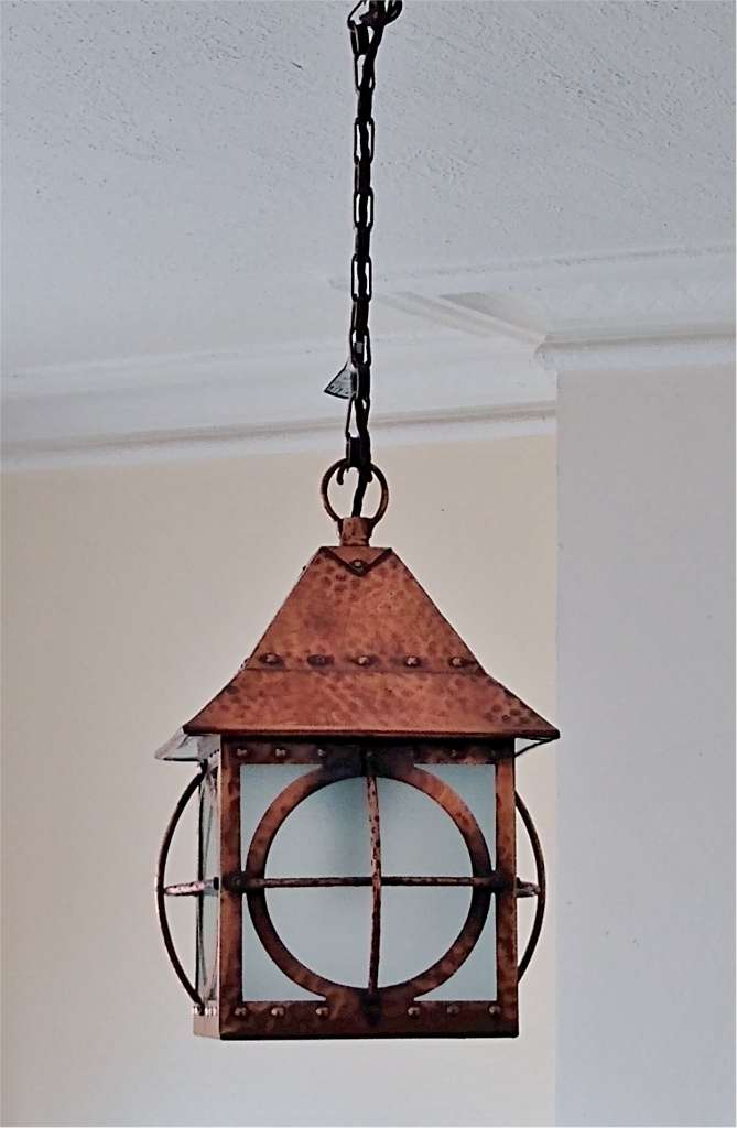 arts and crafts ceiling light , copper on brass