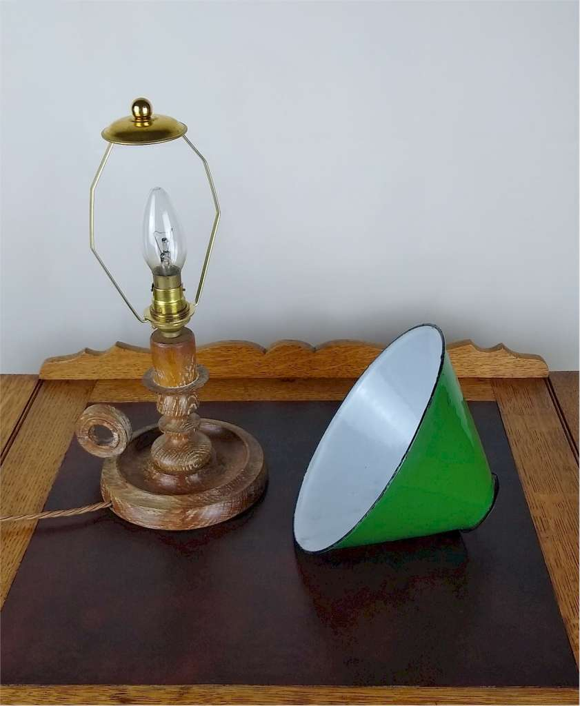 Limed oak candlestick table lamp attd Heals