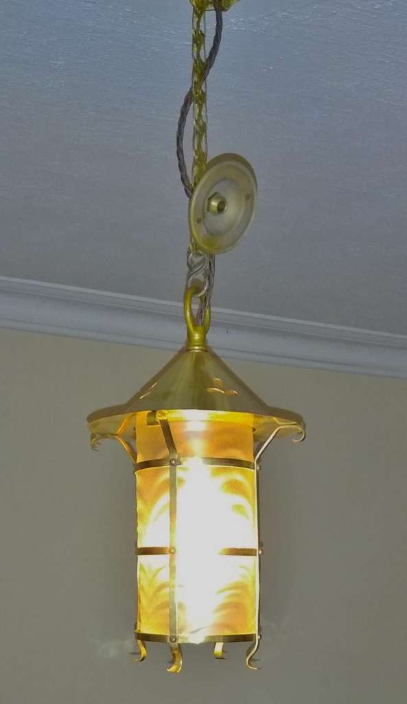 Arts and crafts ceiling light in brass