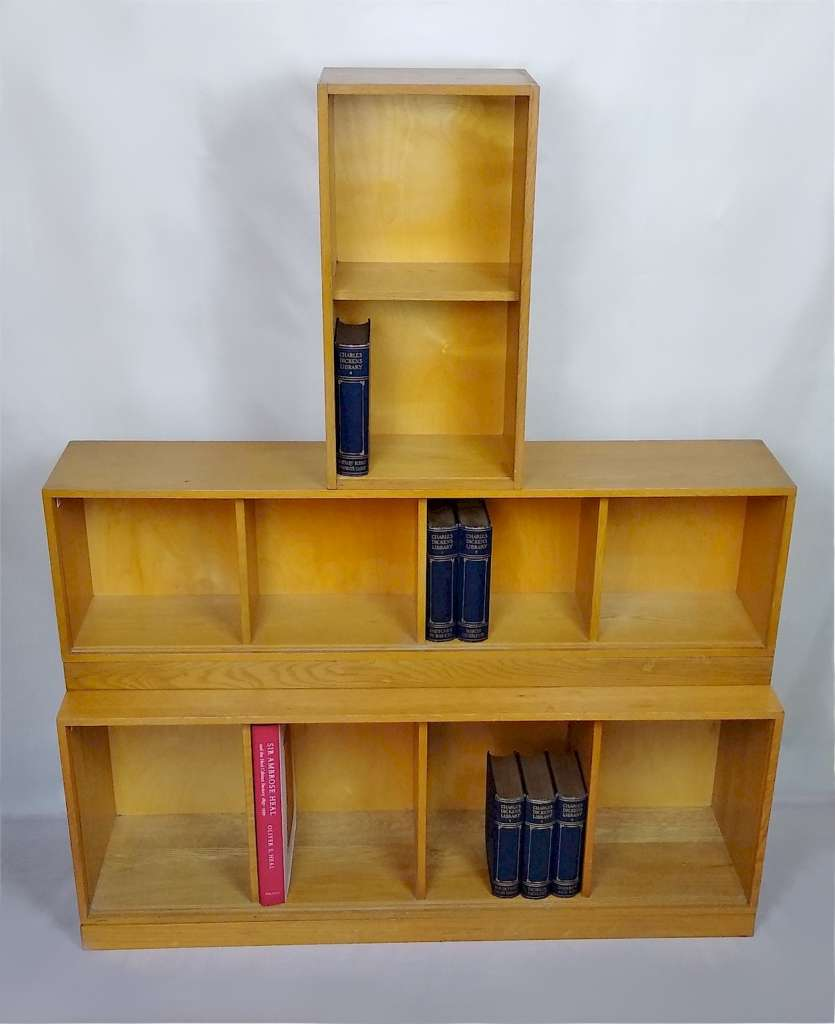 Unix modular bookcase system in golden oak
