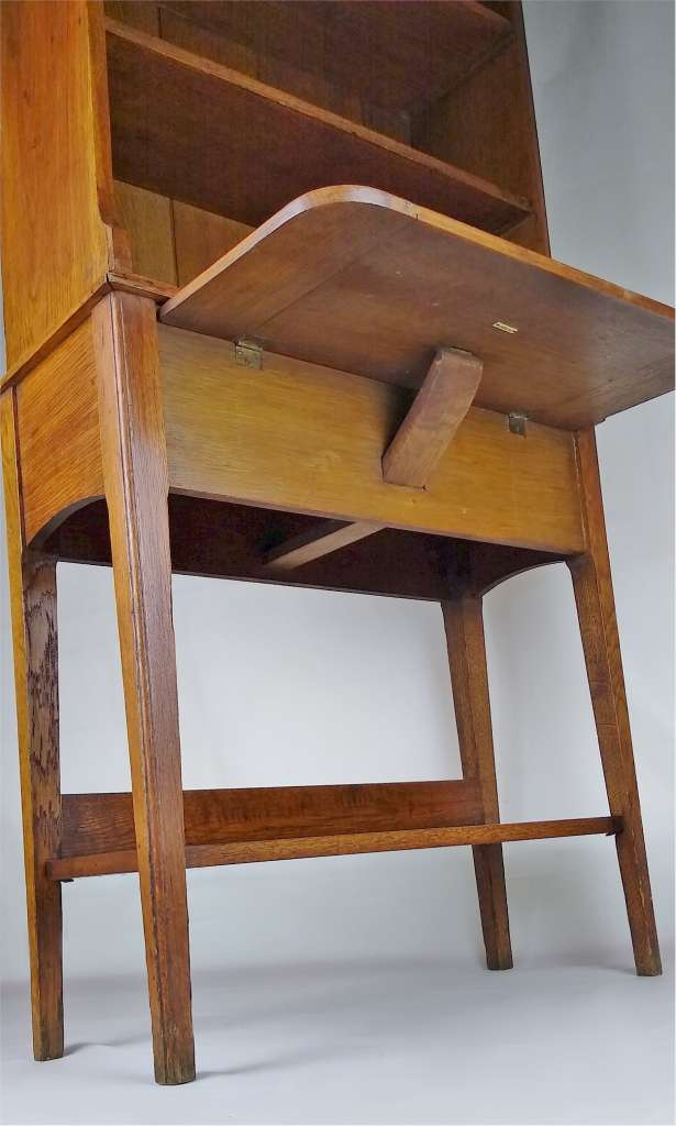 Arts and crafts bookcase with drop down table