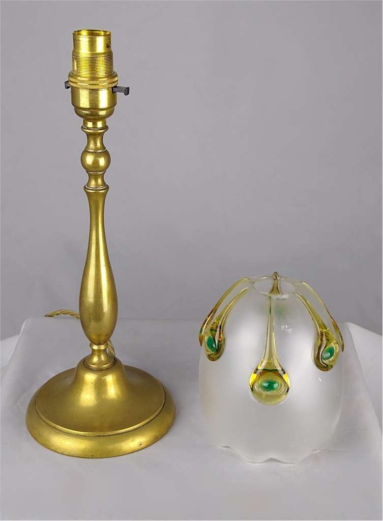Art nouveau table lamp in brass , Stuart shade