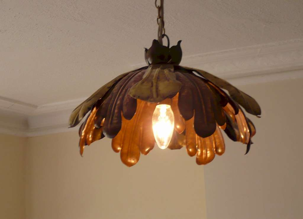 Arts and crafts ceiling light in copper and brass