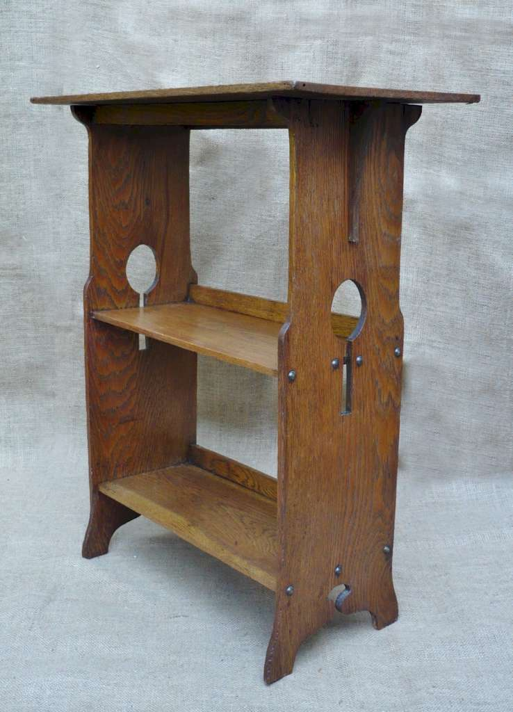 Small arts and crafts book table in golden oak