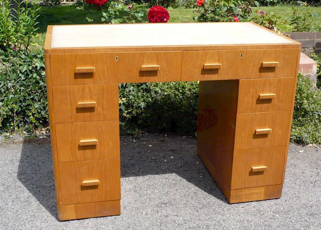 Heals style desk in golden oak