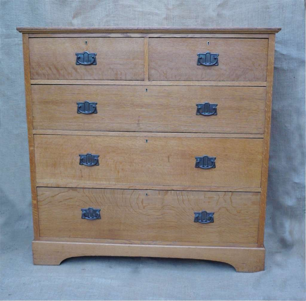 Large arts and crafts chest of drawers