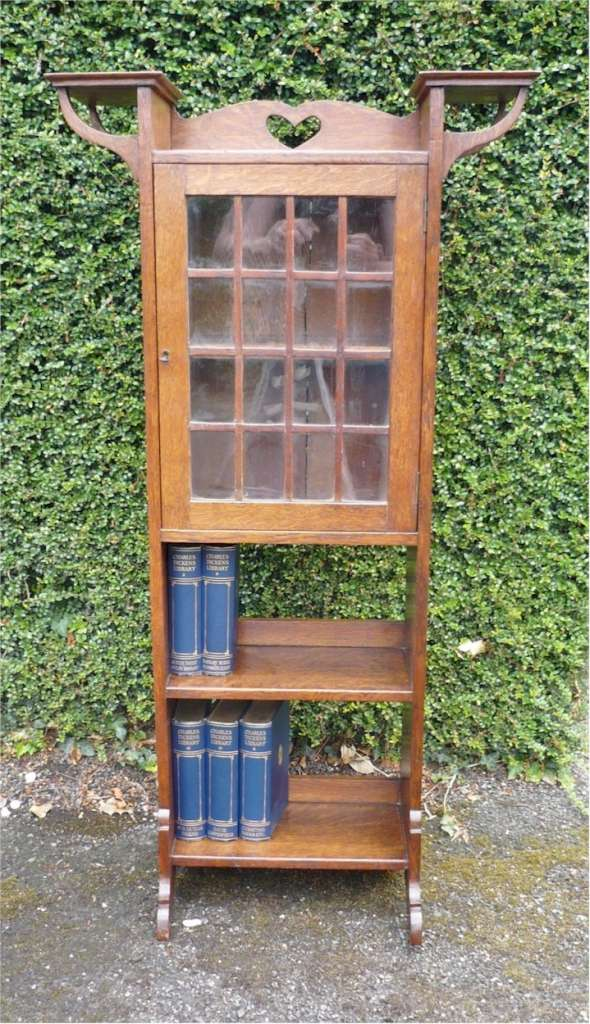 Narrow arts and crafts bookcase /cabinet in oak