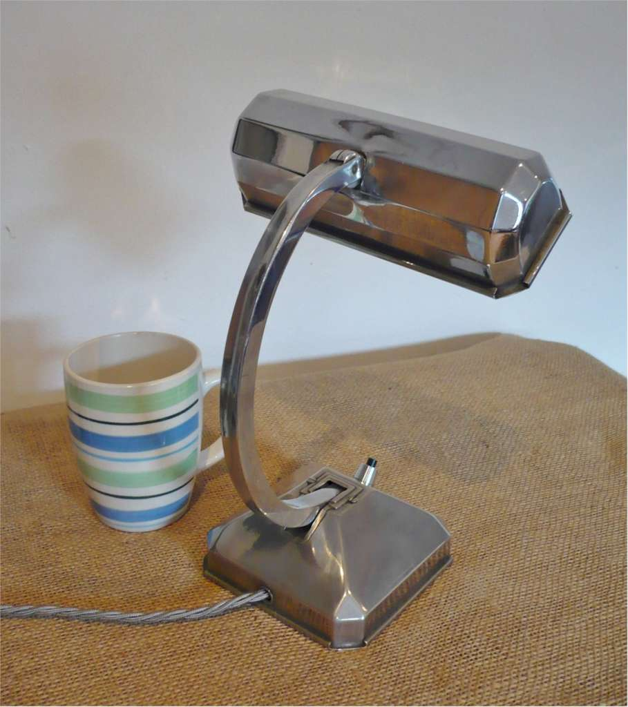 Small , French , Art Deco adjustable desk lamp in chrome