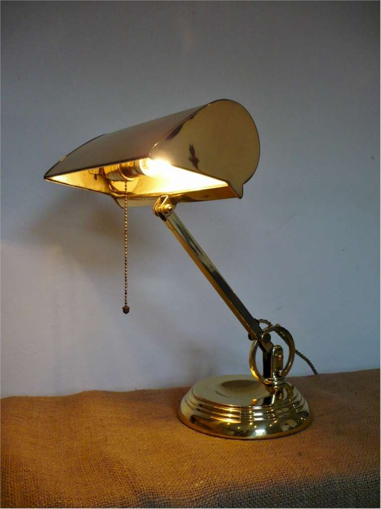 Single British bankers lamp in brass