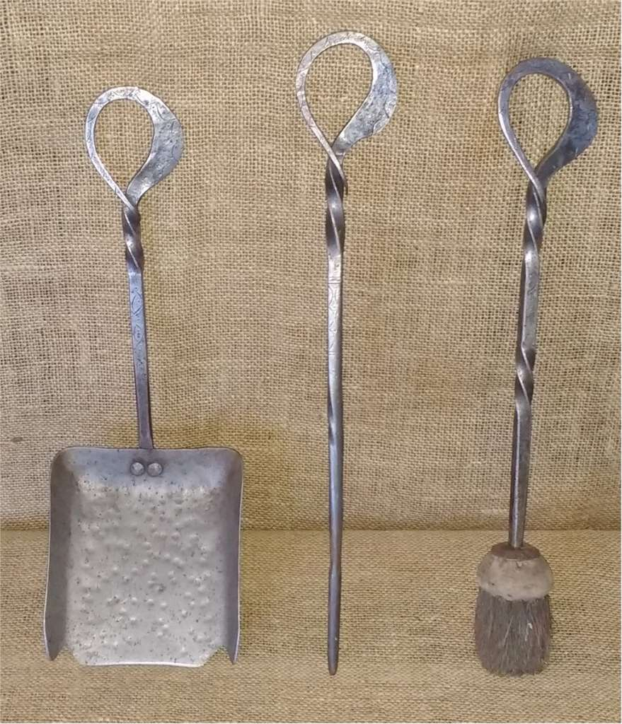 Cotswold School fire irons , incised decoration