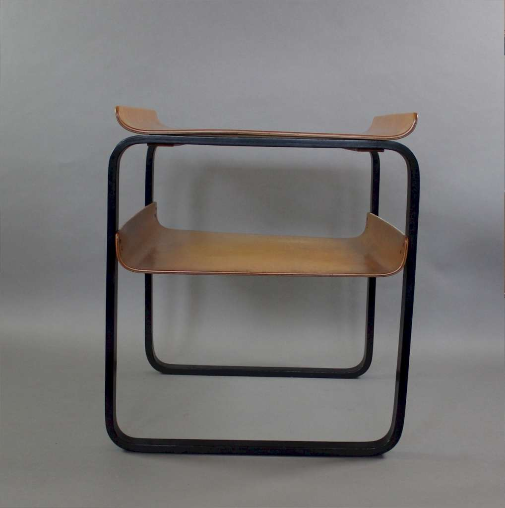 Alvar Aalto two tier Piamio occasional table no 915 ebonised legs with birch top and shelf