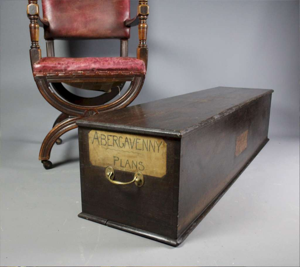 Antique oak coffer map box Abergavenny
