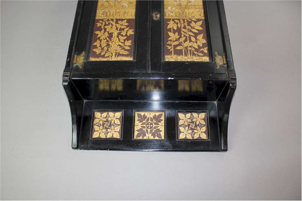 Pretty Aesthetic Movement ebonised wall cabinet