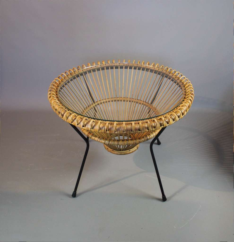 Franco Albini rattan and glass circular mid century table
