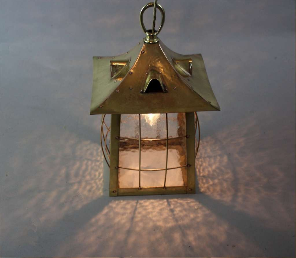Arts and crafts brass cage lantern c1900