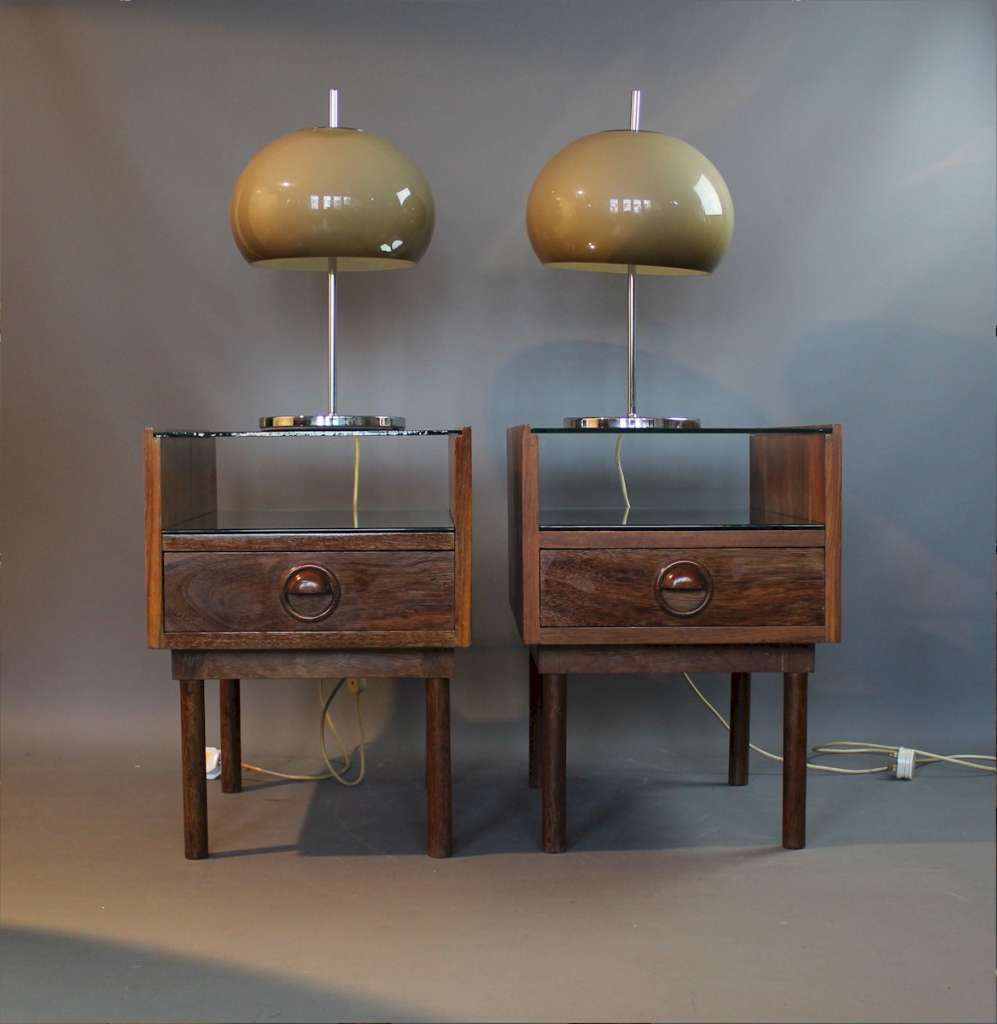 Mid Century pair of bedside cabinets .