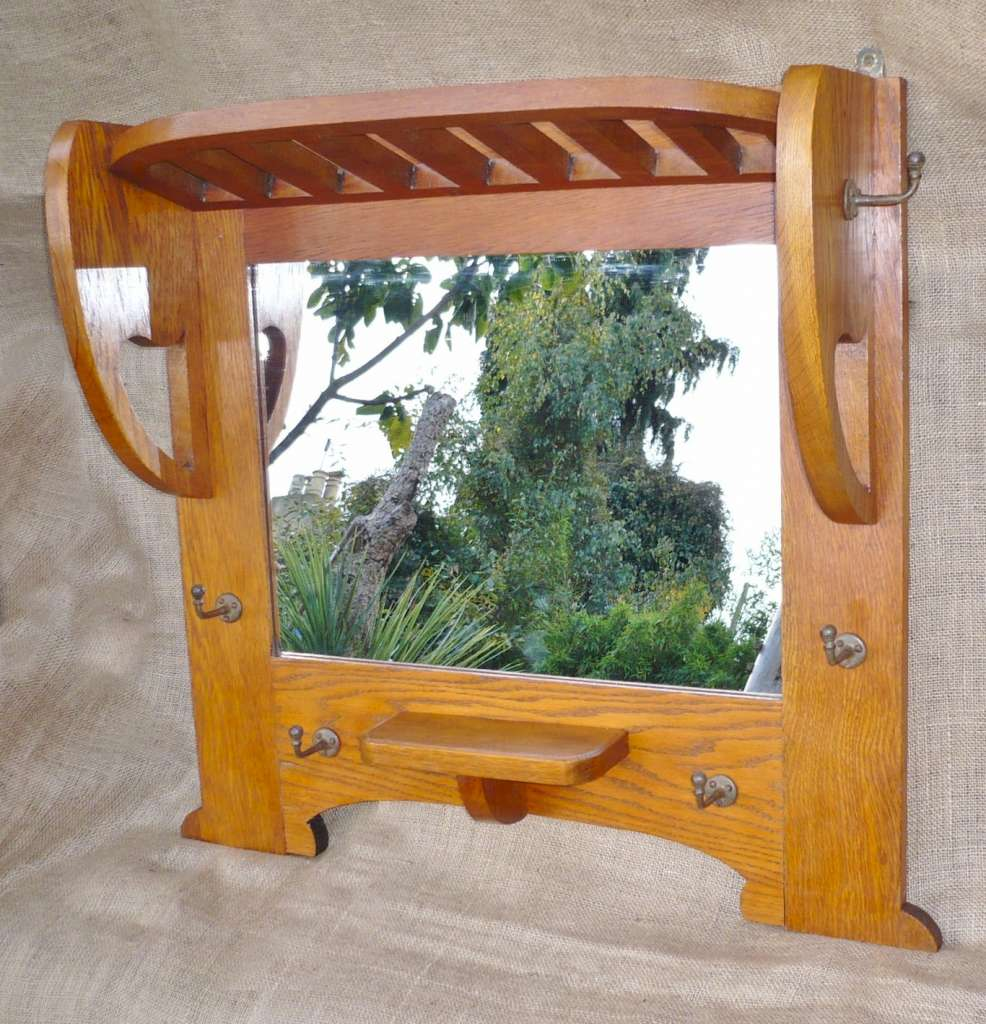 Arts and crafts hall mirror in golden oak