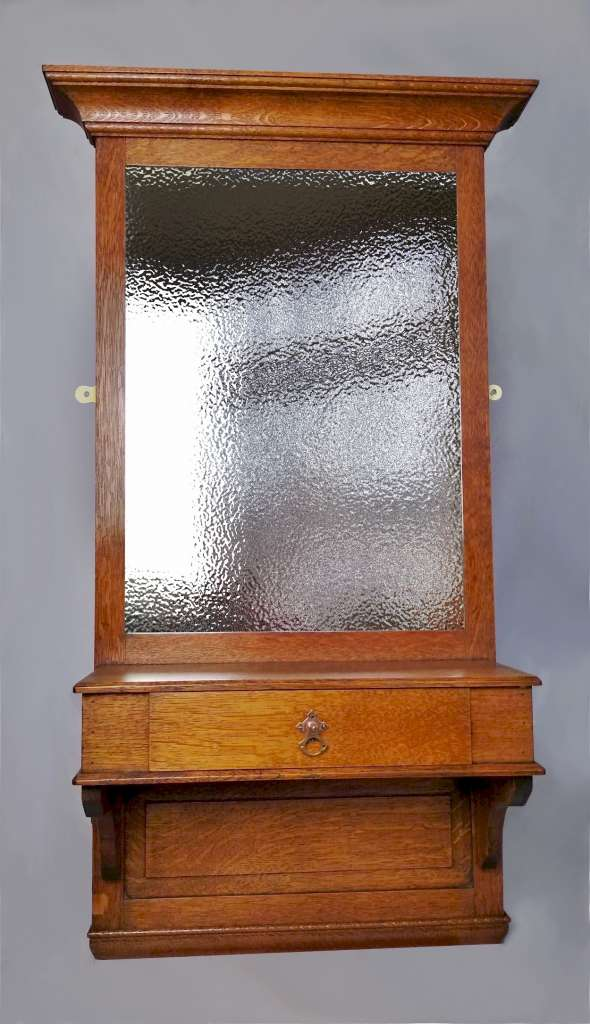 Arts and crafts hall mirror with drawer