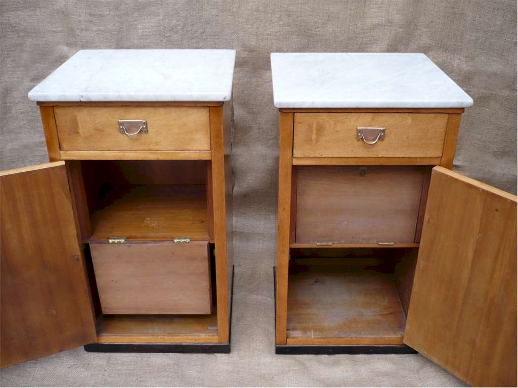 Pair Austrian Secessionist bedside cabinets
