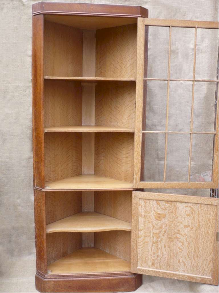 Limed oak corner cupboard