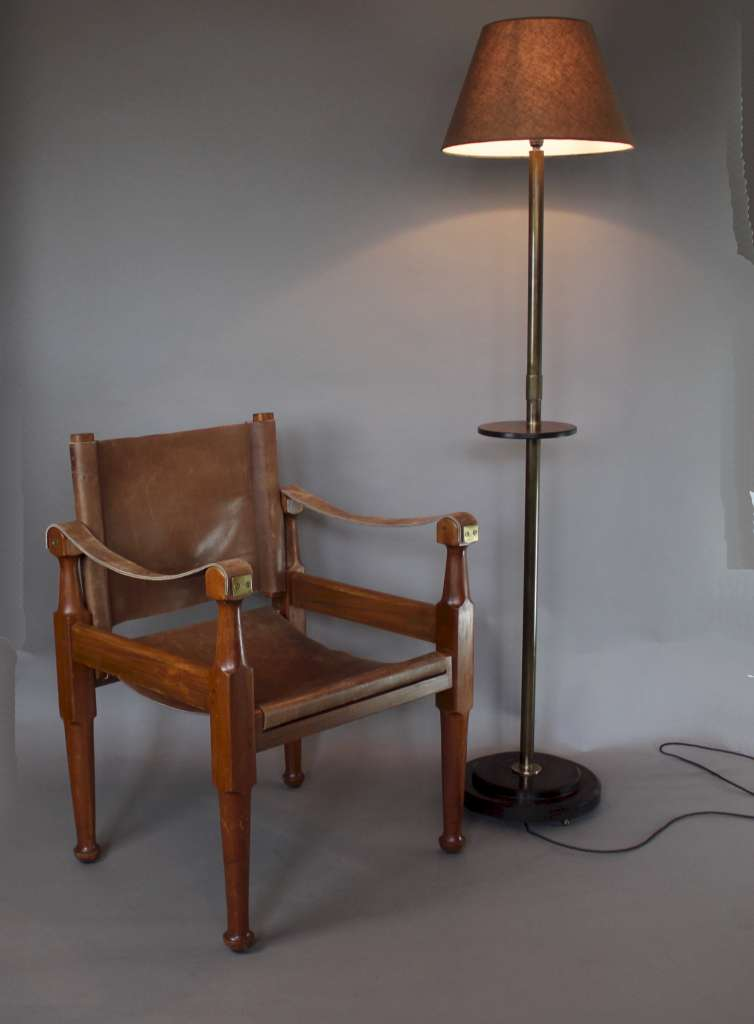 Modernist floor lamp brass and Bakelite