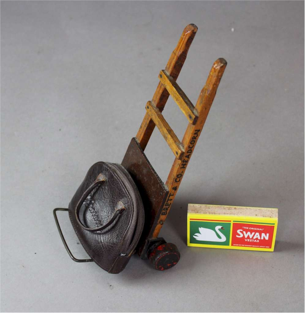 Miniature advertising porters barrow for Brett and Co Headcorn