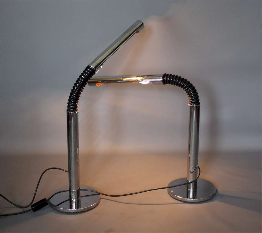 Pair of chrome 70's bendy lamps