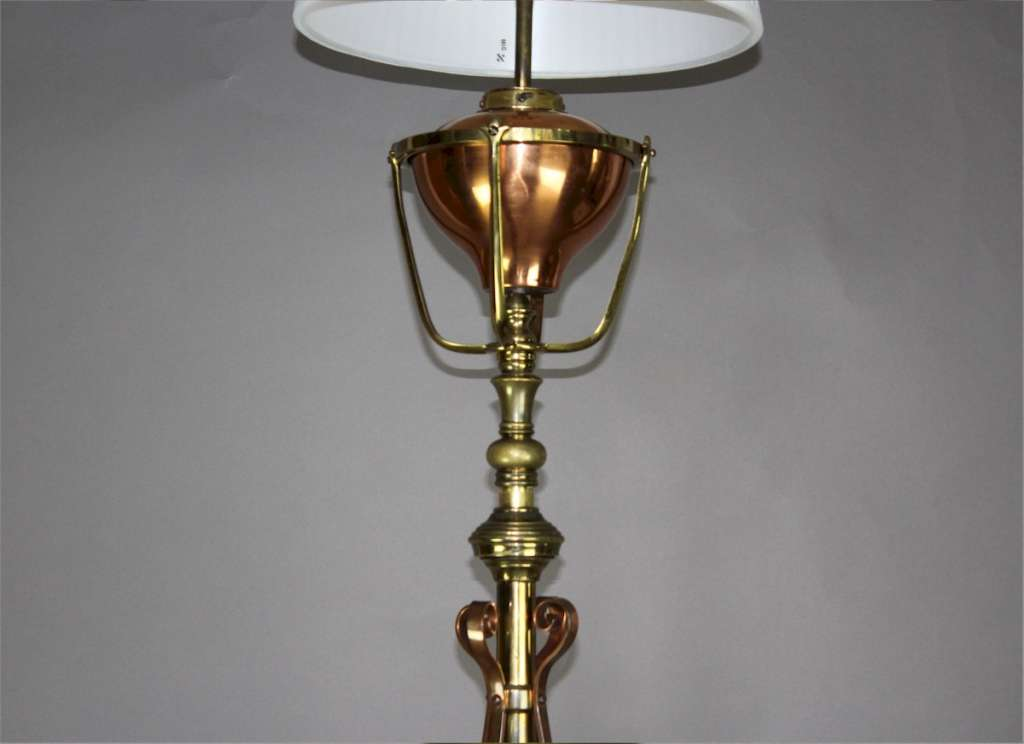 W.A.S Benson arts and crafts floor lamp c1900
