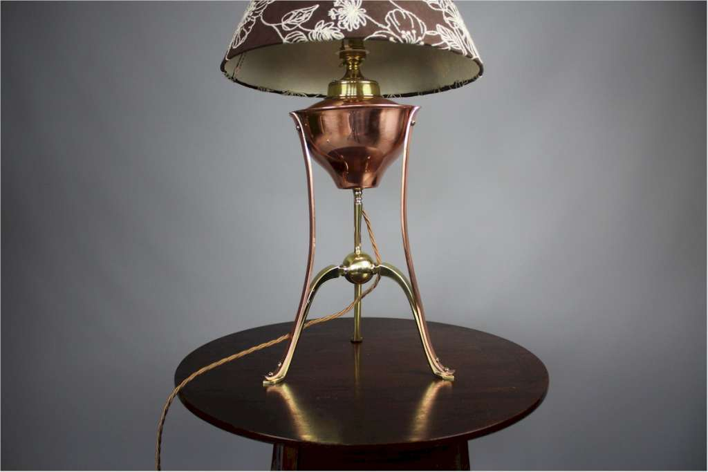 W.A.S Benson converted oil table lamp