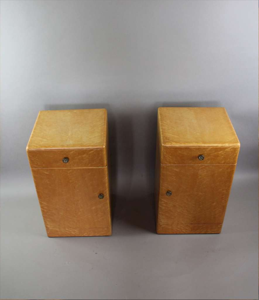 Art Deco birds Eye Maple pair of bedside cabinets