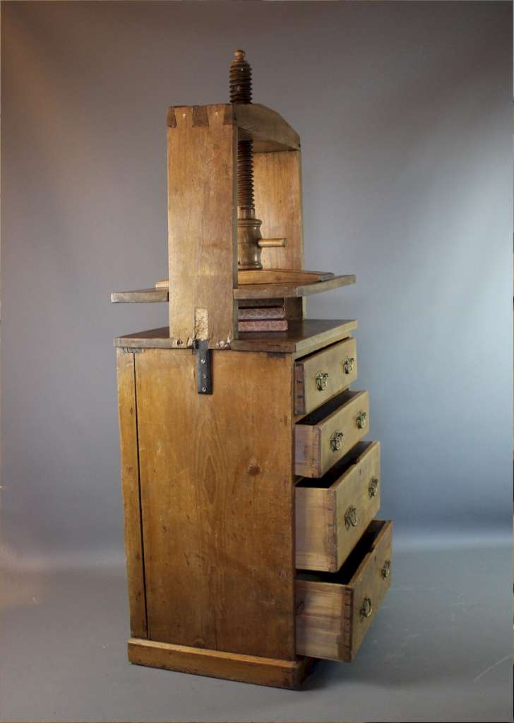 Antique pine book press chest of drawers.