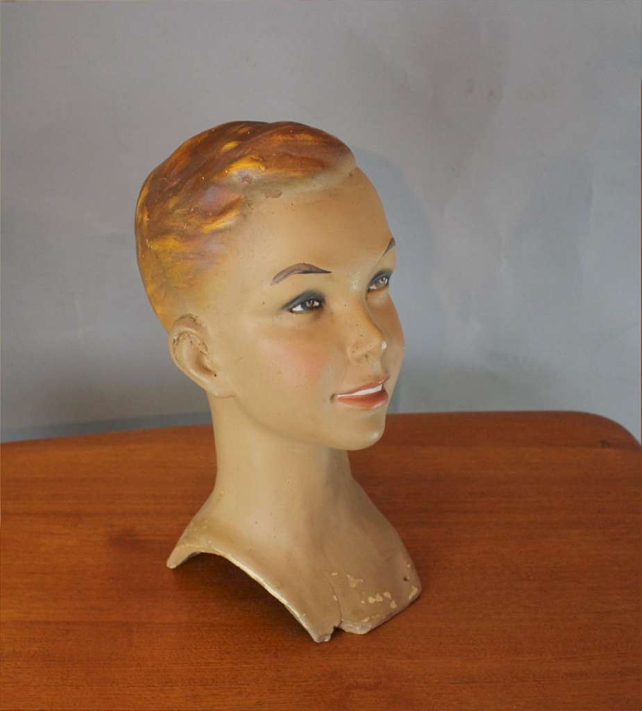 Vintage shop mannequins young boy's head