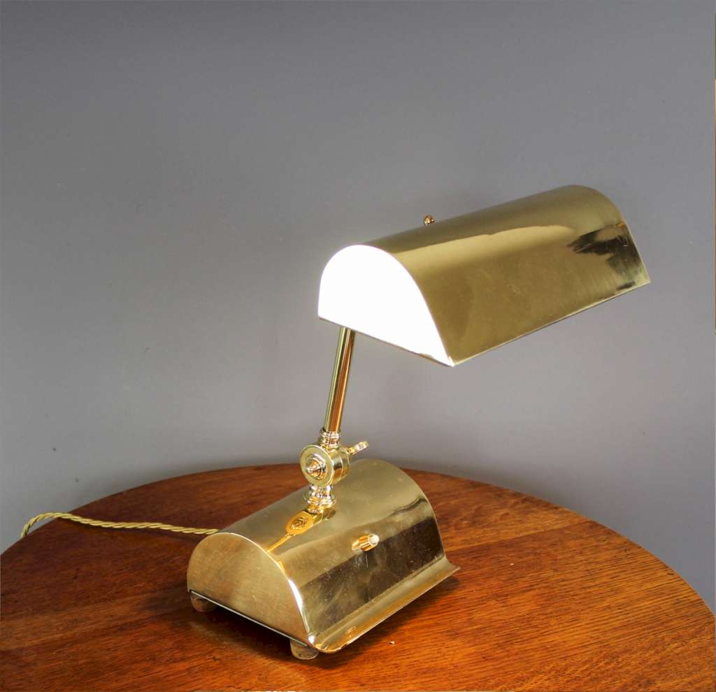 Brass bankers lamp, British 1940's