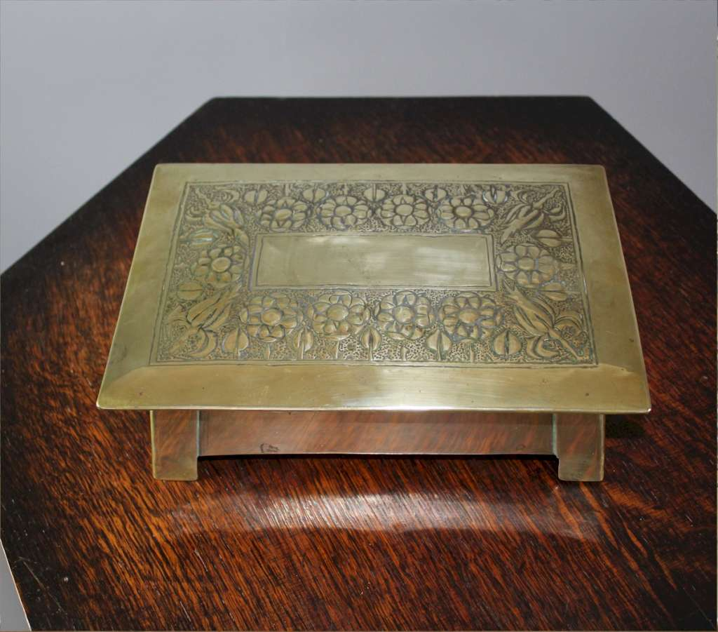 Arts and crafts brass box Scottish?