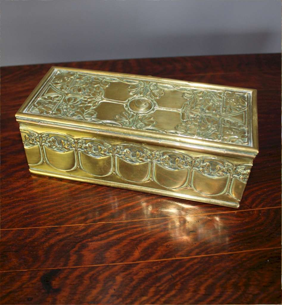 arts and Crafts brass casket