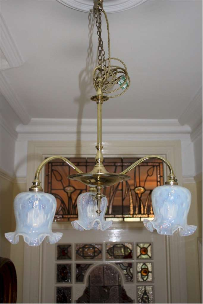 Elegant Art Nouveau brass ceiling light