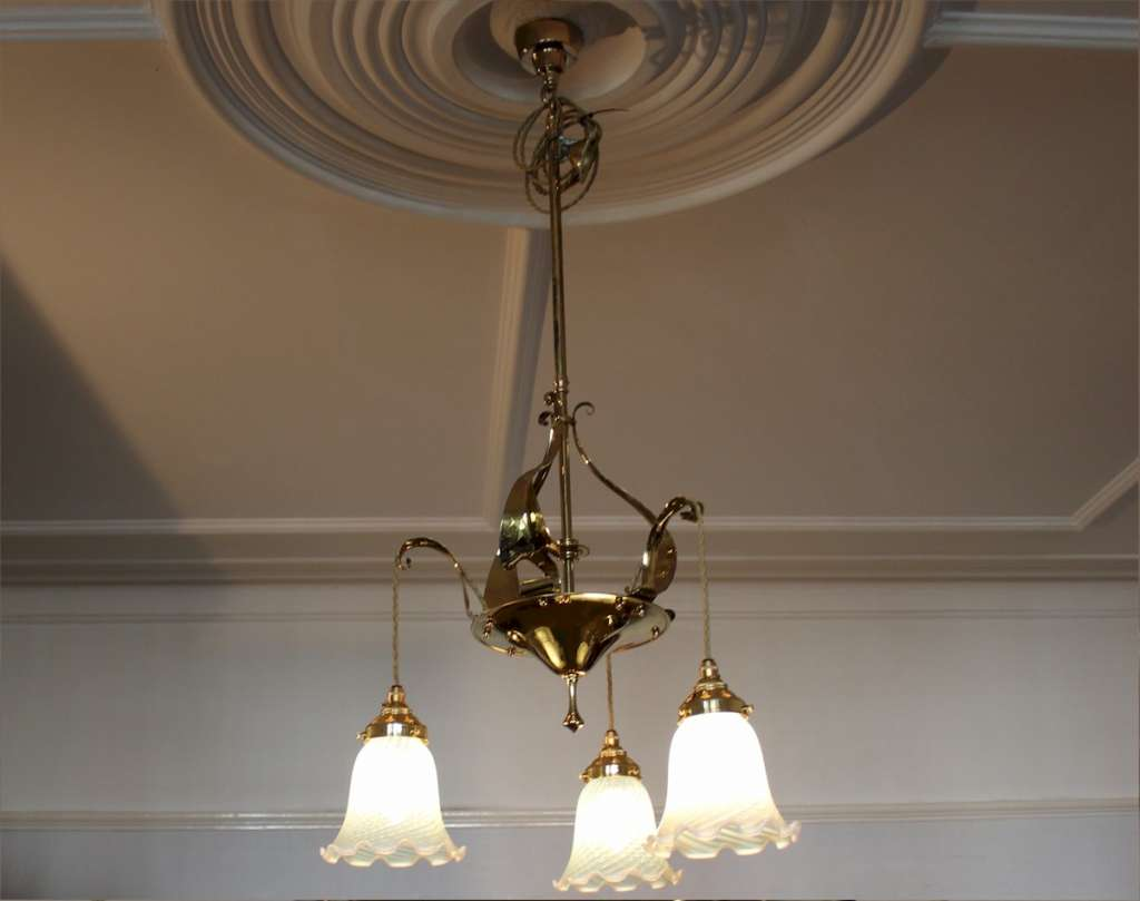 Brass Nouveau heart ceiling lamp