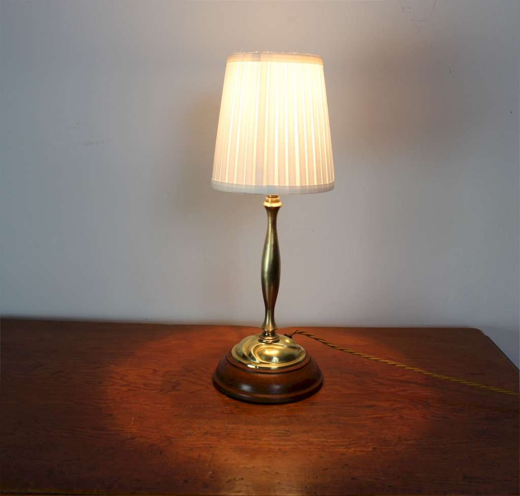 arts and crafts brass table lamp on wooden plinth. Black Bedroom Furniture Sets. Home Design Ideas