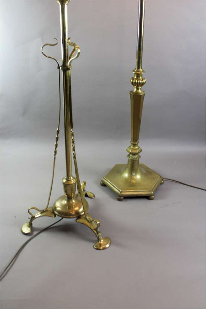 Arts and Crafts period brass adjustable standard / floor lamp