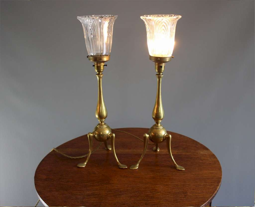 Pair of brass arts and crafts table lamps