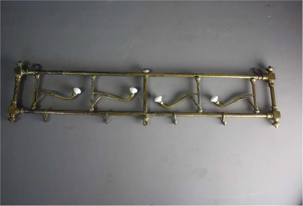 Victorian brass and porcelain hat rack