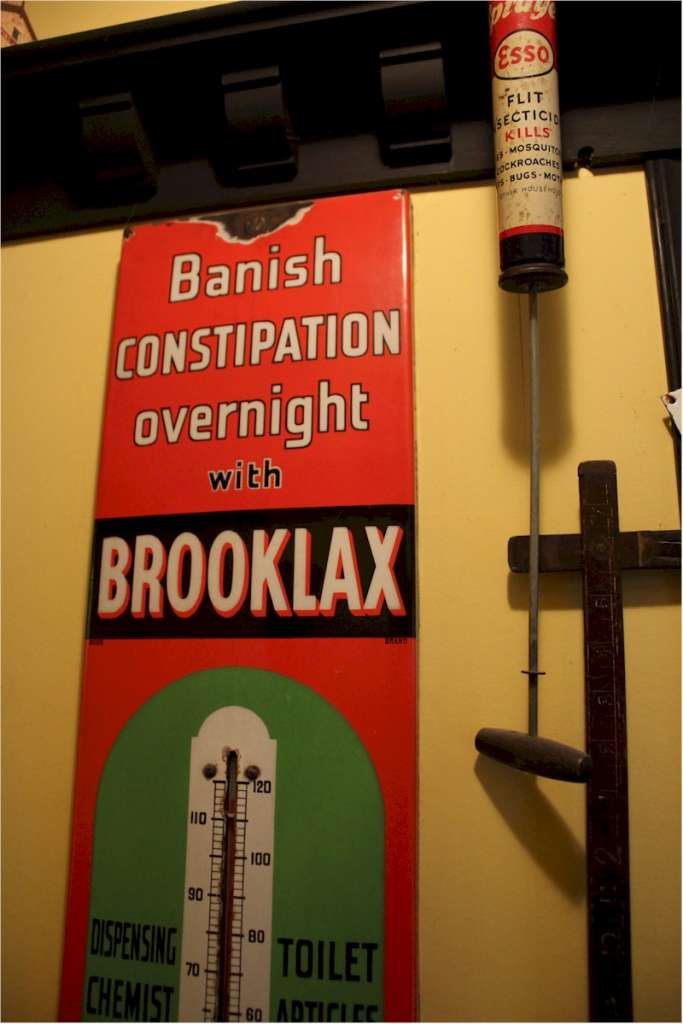 Rare vintage enamel advertising thermometer sign for Brooklax Laxative Chocolate